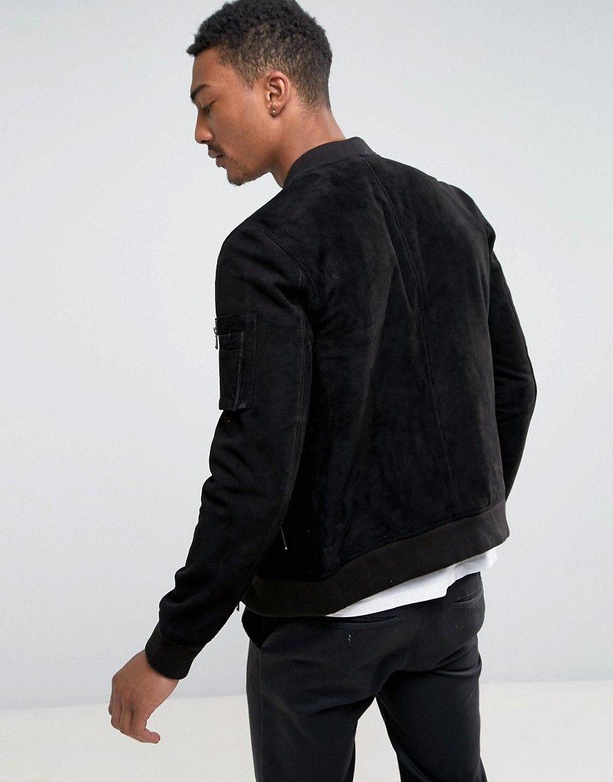 4edef6e8a Selected Homme Suede Bomber Jacket - Black | Men's fashion | Bomber ...
