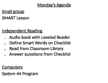 System  Weekly Agenda  System  Read  And Independent Reading