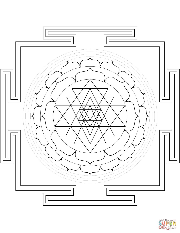 Sri Yantra Mandala Coloring Page