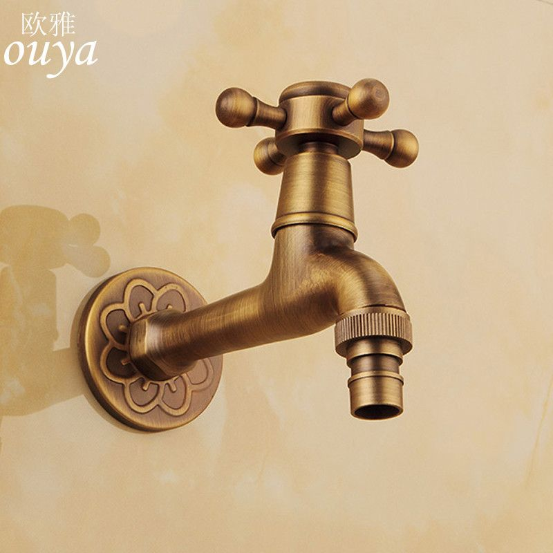 Luxury Decorative Outdoor Bibcock Garden Faucet Tap Antique Brass Finish Bath
