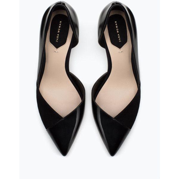 Zara Mid Heel Court Shoe ($50) ❤ liked