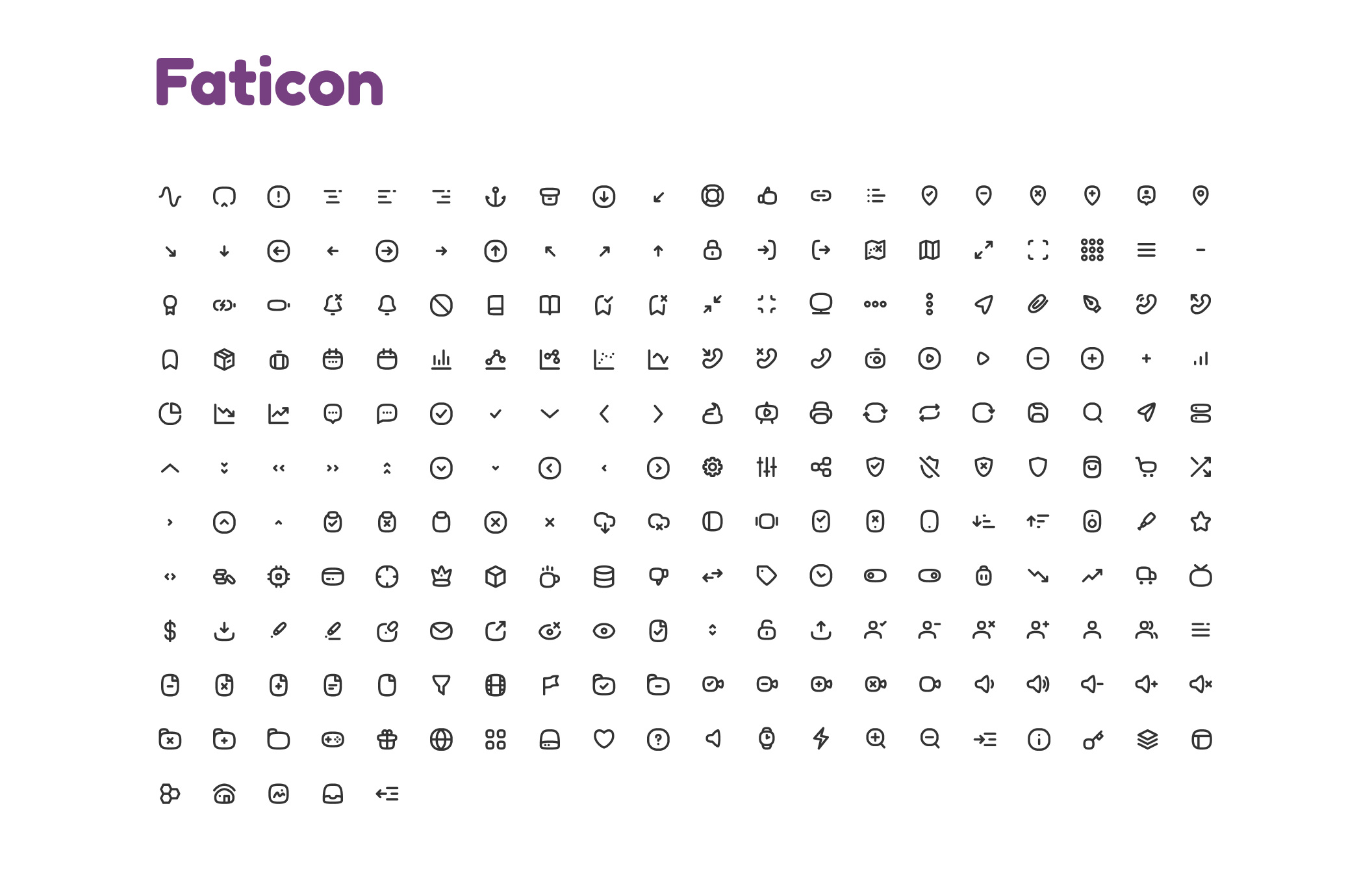 Faticon Line Icons Pack 225 line icon sets Suitable for