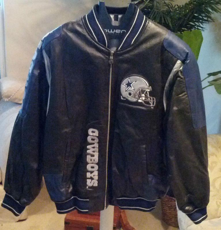 buy popular 343f2 50127 NEW Men Dallas Cowboys Leather Jacket MEN (L) Black/Blue ...