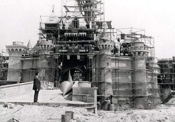 "Anaheim, CA (1955) - Walt Disney supervising ""Sleeping Beauty's Castle"" under construction in early 1955."