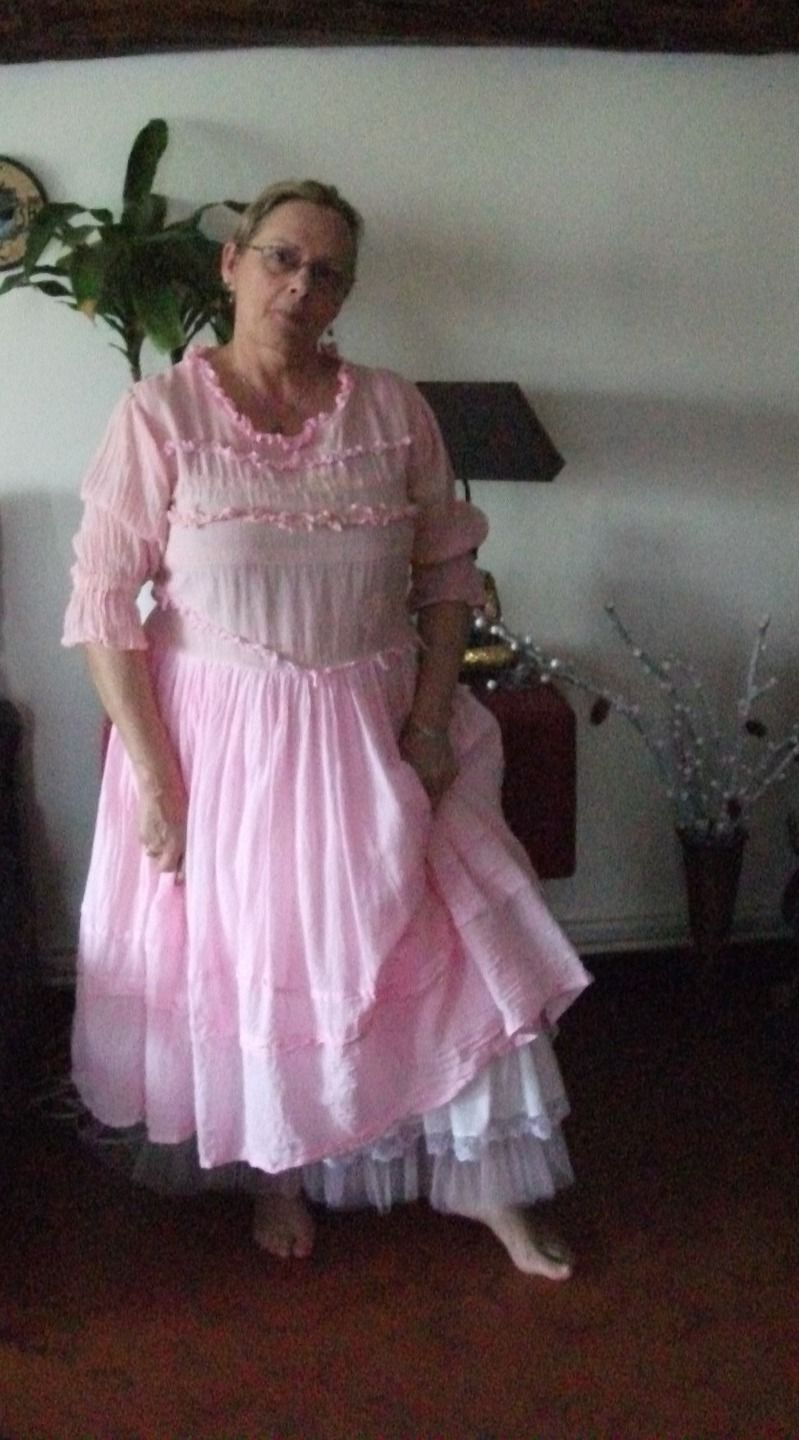 Tres jolie robe rose shabby chic romantique taille 40 46 for Shabby romantique
