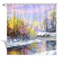 Winter Landscape Shower Curtain for