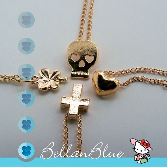 ✨Skull, cross, clover or heart necklace✨ Gold tone necklace. 4 styles available. ❌NO TRADE❌ Jewelry Necklaces