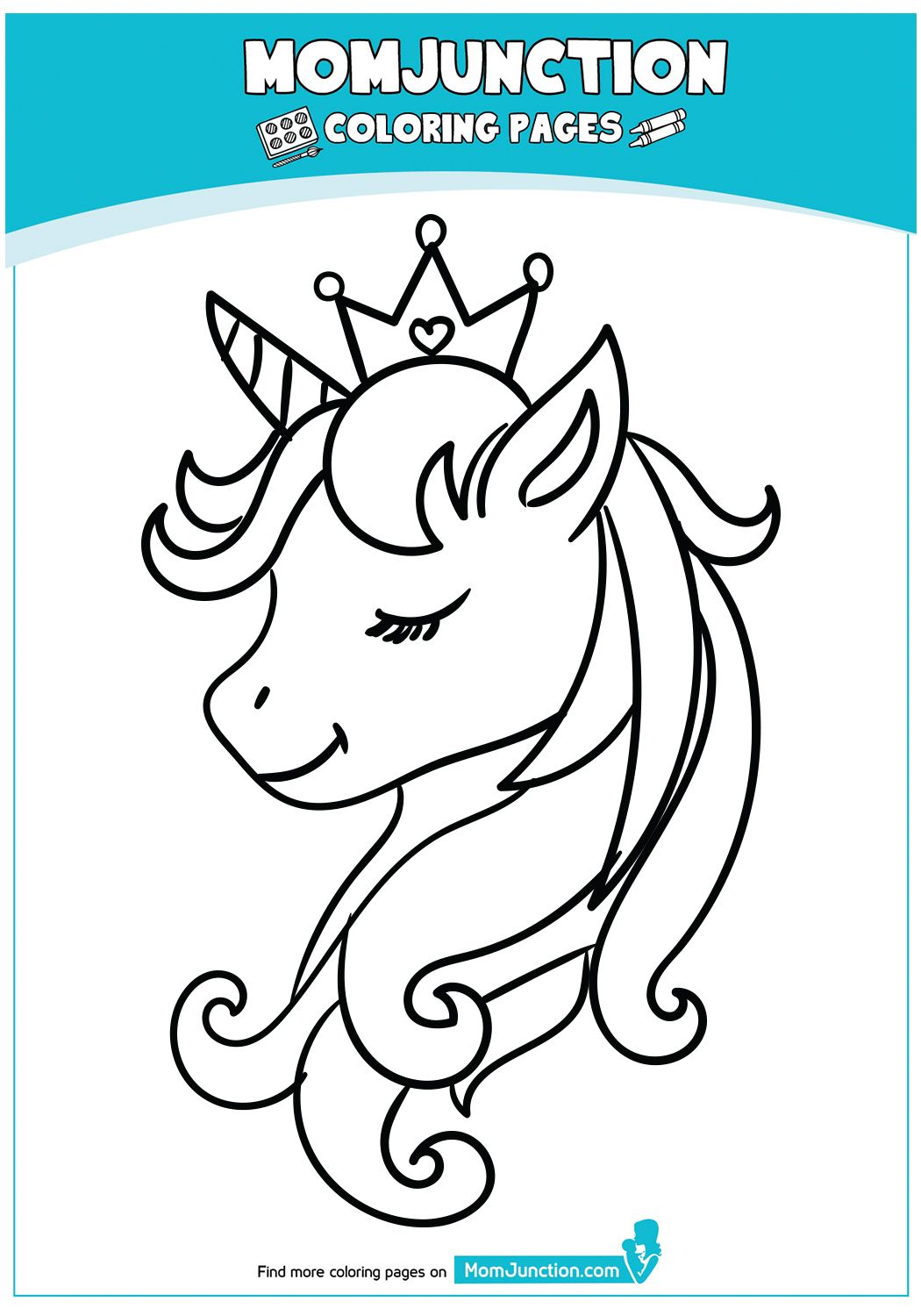 Beautiful Unicorn Head Coloring Page | Unicorn coloring ...