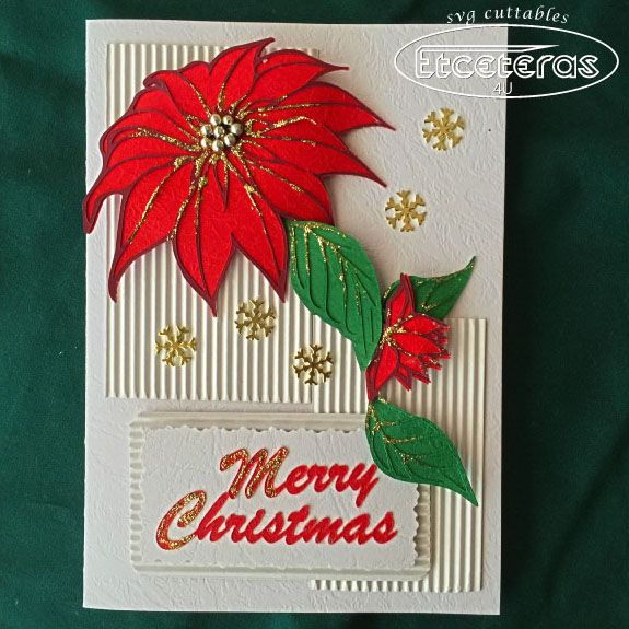 Create a unique handmade Poinsettia Christmas Card, Complete with