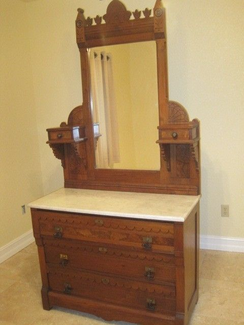 Antique Eastlake Dresser With Mirror And Marble Top Mirrors And