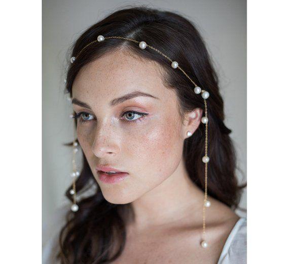 Moonbeams Freshwater Pearl bridal hair chain No. 2277
