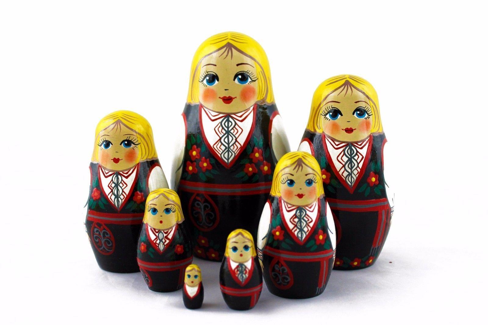 Norwegian Folk Costume Russian Stacking Nesting Dolls Matryoshka set 7 Pcs