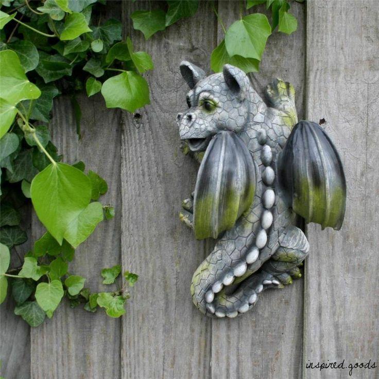 Stone Effect Climbing Dragon Ornament Fence Wall Art Garden Cute Gargoyle  Statue