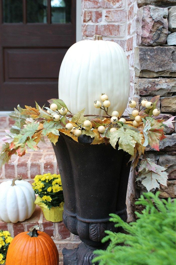 Urn Decor Glamorous Fall Front Porch Mums  Pumpkins  Urn Front Doors And Doors Review