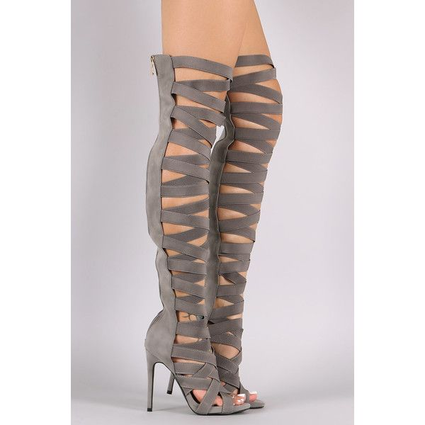 Elasticized Crisscross Straps Gladiator Heel ❤ liked on Polyvore featuring shoes, pumps, stiletto high heel shoes, stiletto heel pumps, low platform shoes, gladiator stilettos and gladiator pumps