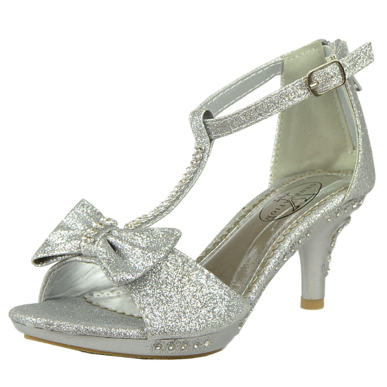 6830c58b934 Kids Dress Sandals T-Strap Bow Accent Glitter High Heels Silver ...