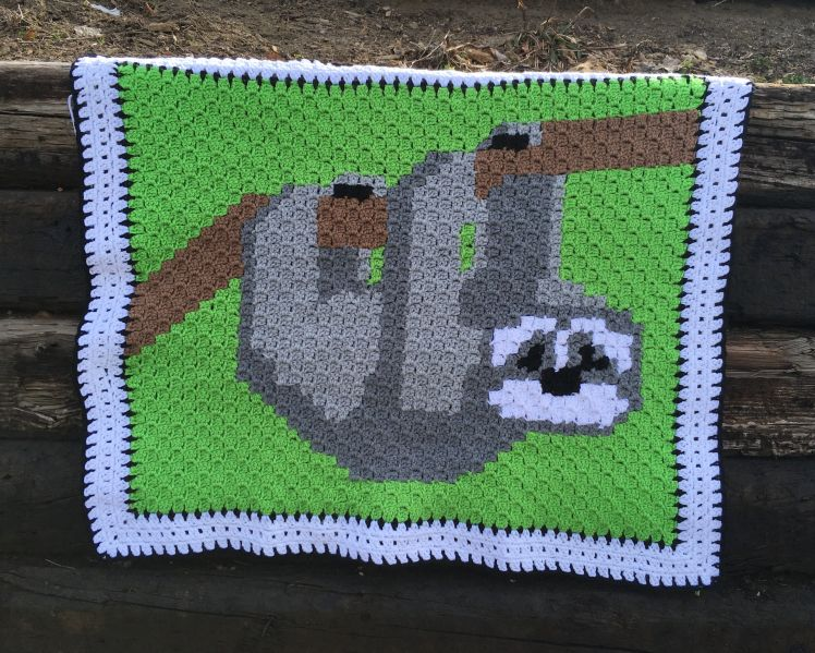 This fun C2C Three toed sloth by CoffeeandCrochetGoals is perfect for any baby boy or girl you know. #c2cbabyblanket