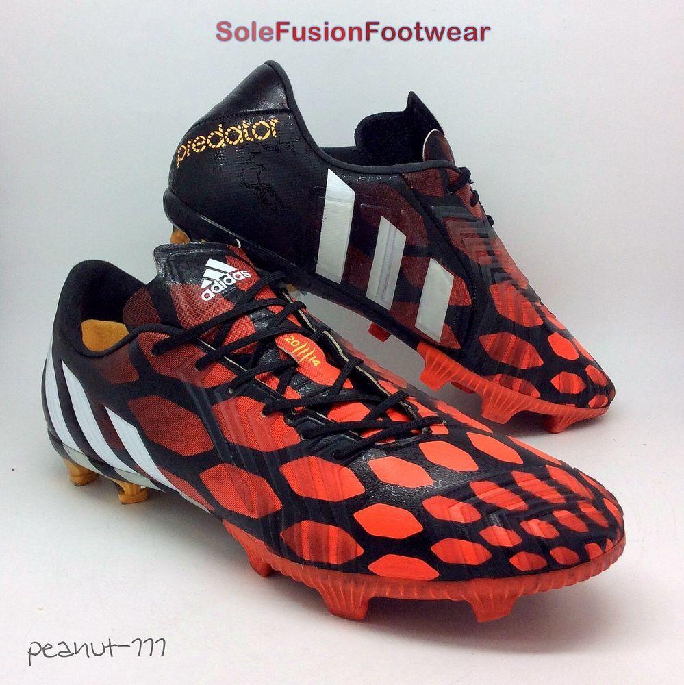Adidas Predator instinto hombre  botas de fútbol negro / rojo SZ 10 tacos