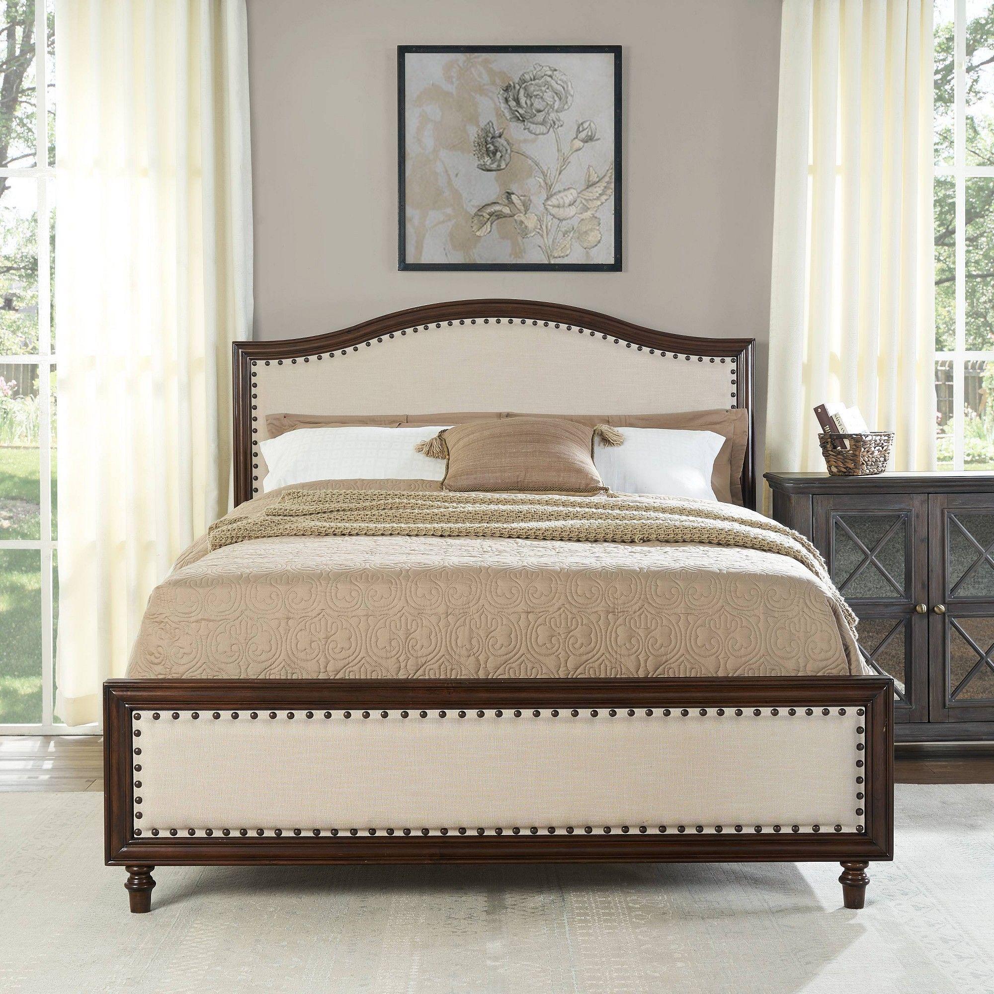 Felton Upholstered Queen Bedset Cream Crosley, Adult