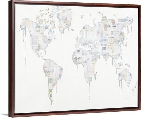 Wine lovers guide floating frame contemporary artwork and wine contemporary artwork of a world map with wine labels wine lovers guide canvas print by sydney edmunds featured in a walnut floating frame gumiabroncs Images