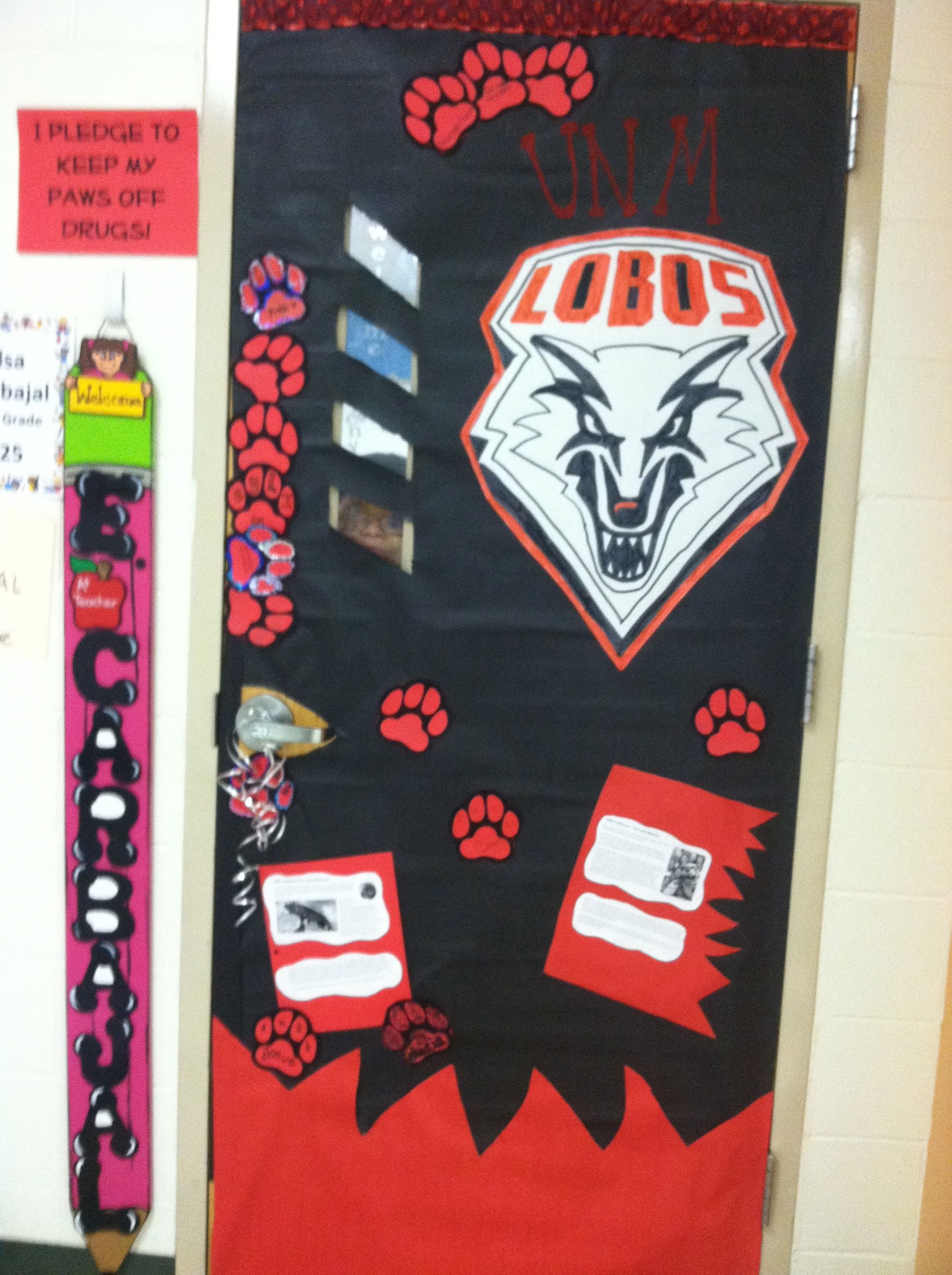 university of new mexico lobos door for college month go college