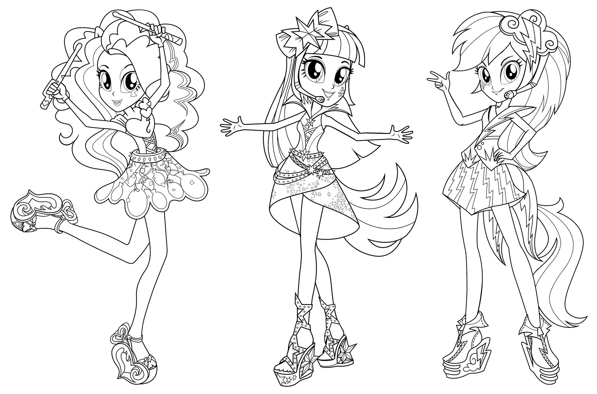 Coloring Pages My Little Pony Equestria Girls Printable Warna