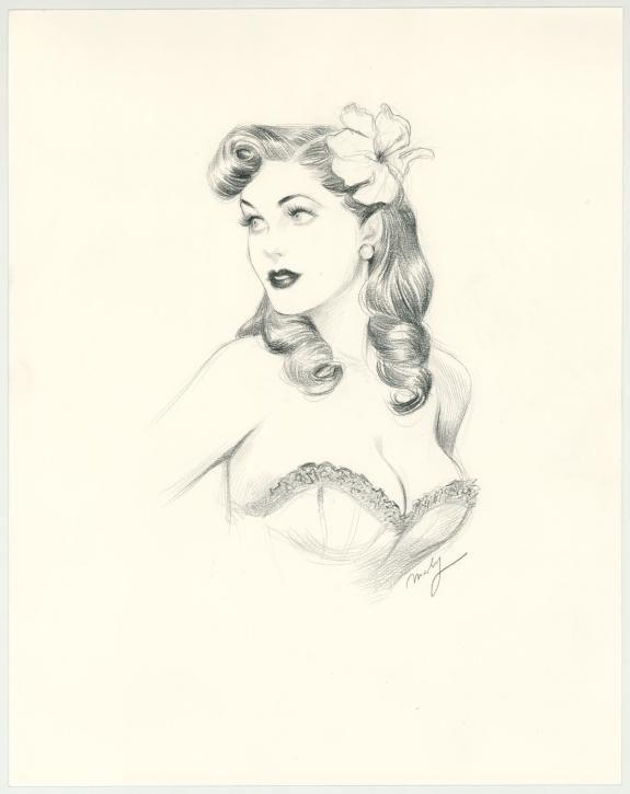"maly siri - pin-up art illustration originale intitulée ""lovely"