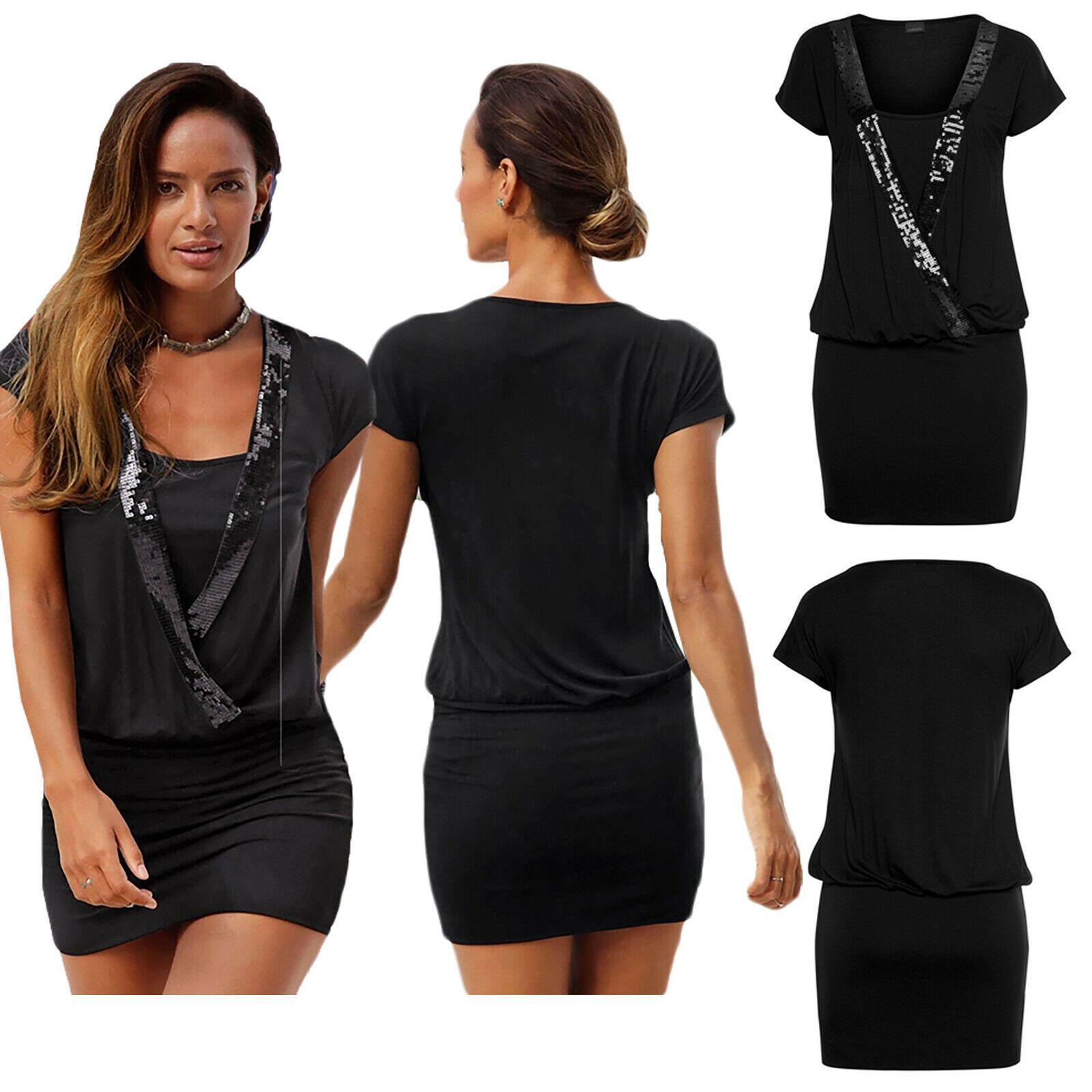Neu Schößchen Fest Kleid Party Minikleid Pailletten Abendkleid Schwarz 34 36 38