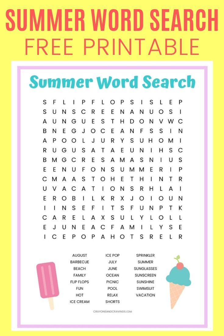 Summer Word Search Free Printable Summer Words Kids Worksheets Printables Summer Worksheets