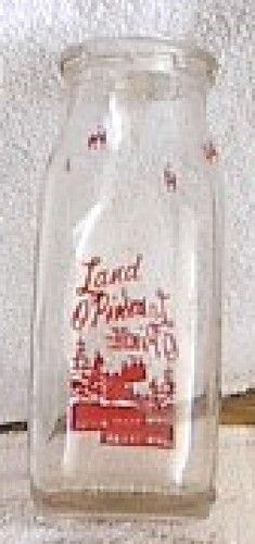 Milk Bottle Glass Red Design Trees 1 2 Pint Land O Pines Lufkin