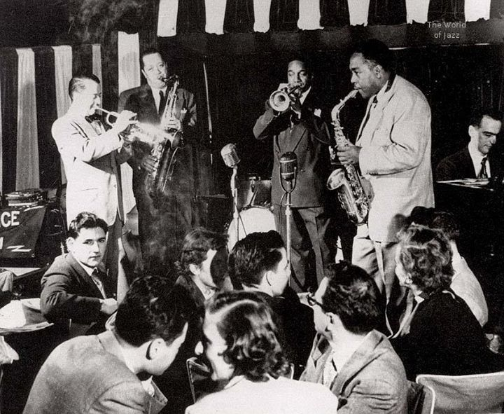 Opening night at Birdland, the New York club named in honor of Charlie Parker. From left: Max Kaminsky, Lester Young, Lips Page, Charlie Parker, Lennie Tristano