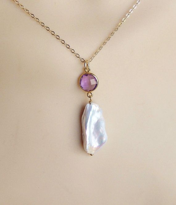 Gold  Amethyst link and white  biwa pearl necklace 14K by alya