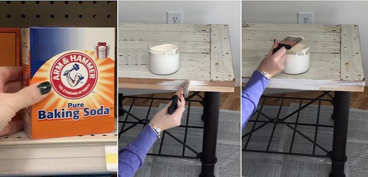 Peindre avec du bicarbonate de soude pour obtenir un effet - Peindre un meuble en bois effet patine ...