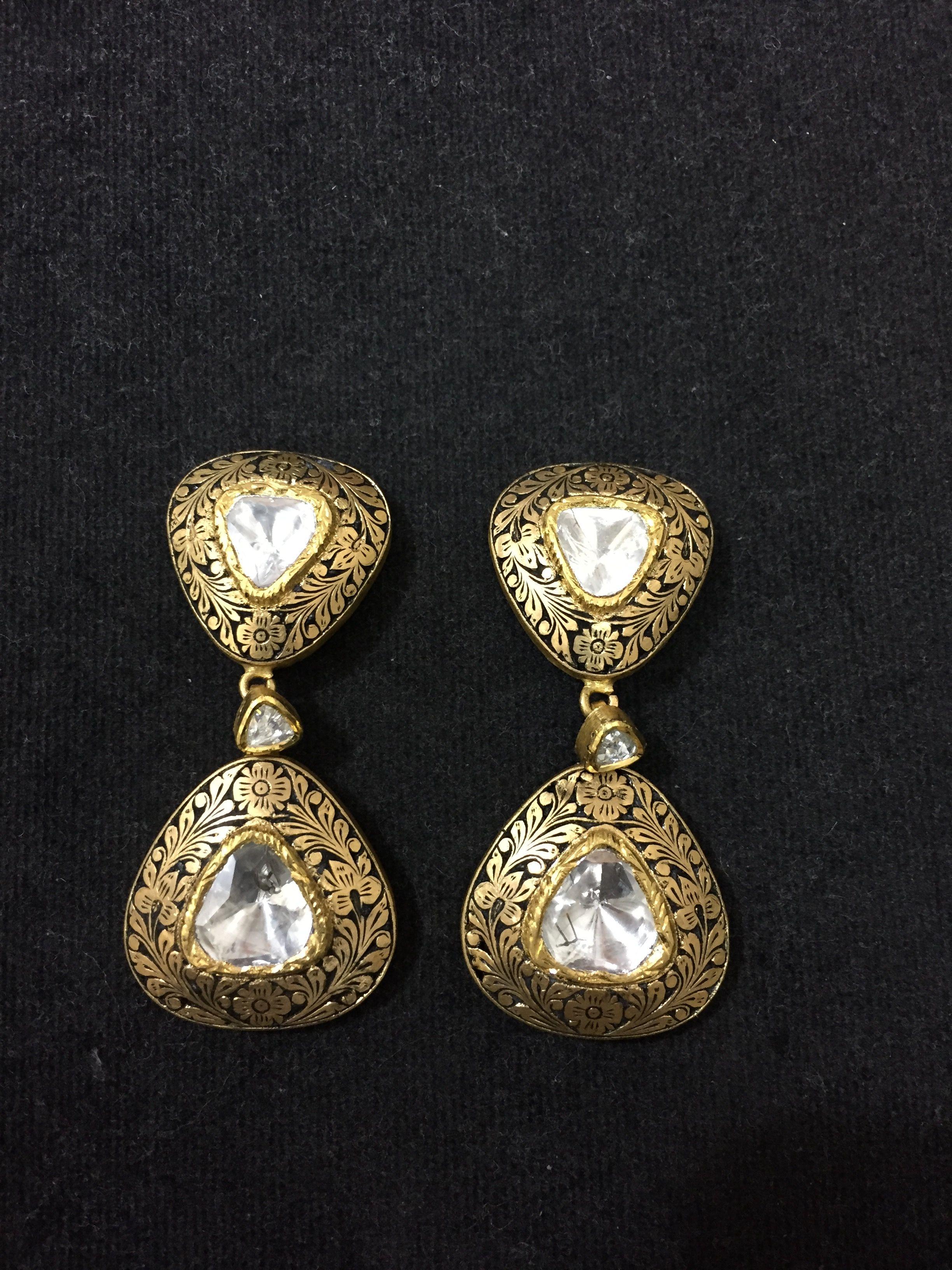 Partash work earings in polki diamonds | earings in 2019