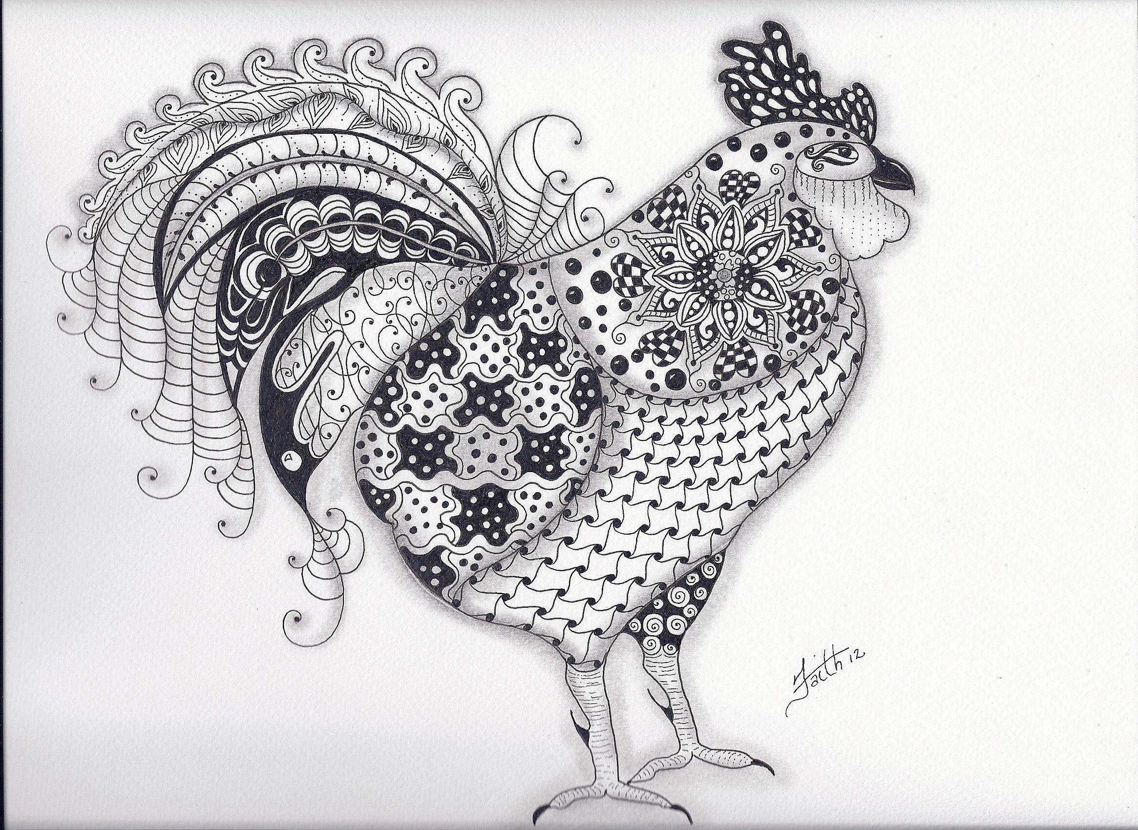 Zentangled Rooster Jpg 2330 1700 Zendoodle Dieren Kleurplaten Voor Volwassenen