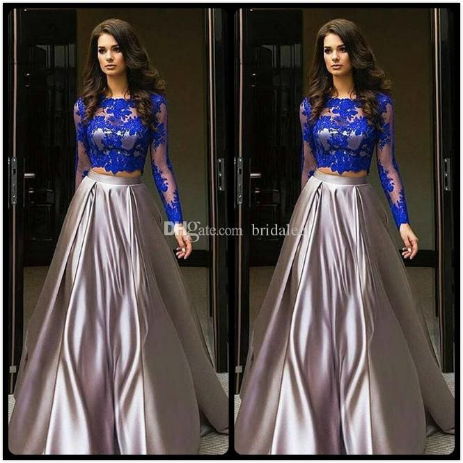 2017 Robe De Soiree Courte Royal Blue Two Pieces Prom Dresses Cheap
