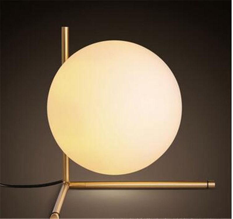 Modern Brief North European Bedroom Decoration Round Table Lamp Iron Acryl  LED Desk Globe Reading Light