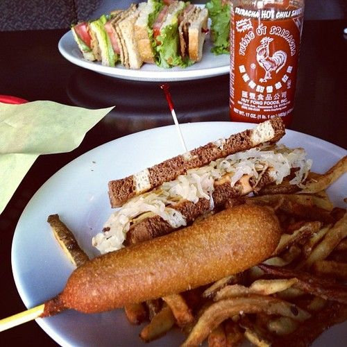 From The Hungry Tiger Too In Portland Half A Vegan Reuben A Full Vegan Club A 1 25 Vegan Corndog Tasty Dishes Food Hungry