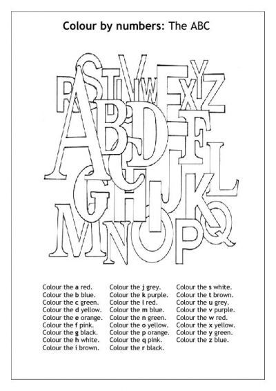 learning letters - Colour by number: The ABC   Coloring Pages ...