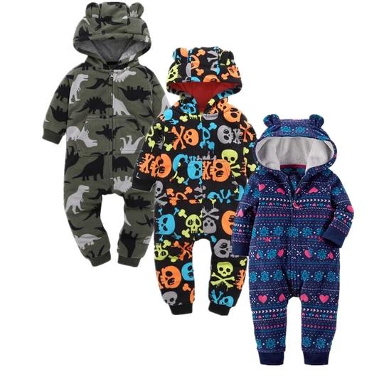 Newmao Infant Baby Girls Boys Fall Clothes Onesies Kids Cute Cartoon Print Romper Bodysuit Soft Cozy Sleepwear Outfits