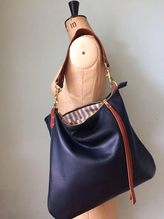 Leather crossbody/shoulder bag, Dumpling navy blue leather handbag ...