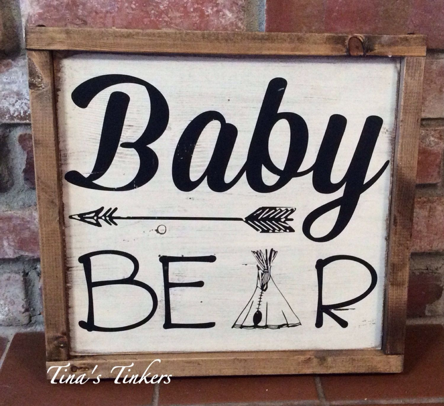 Baby Bear Sign Woodland Nursery Decor Arrow & Teepee Nursery