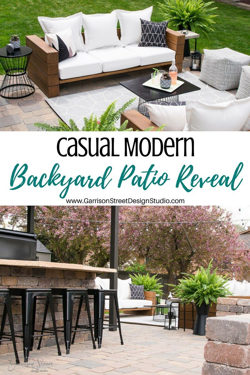 Casual Modern Backyard Patio Reveal | ©️GarrisonStreetDesignStudio | Outdoor  Furniture | DIY | Wood |