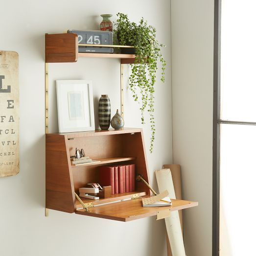 Inspired By American Modern Design The Mid Century Wall System Mixes A Warm Walnut Finish With Retro Metal Hard Desks For Small Spaces Fold Down Desk Room Diy