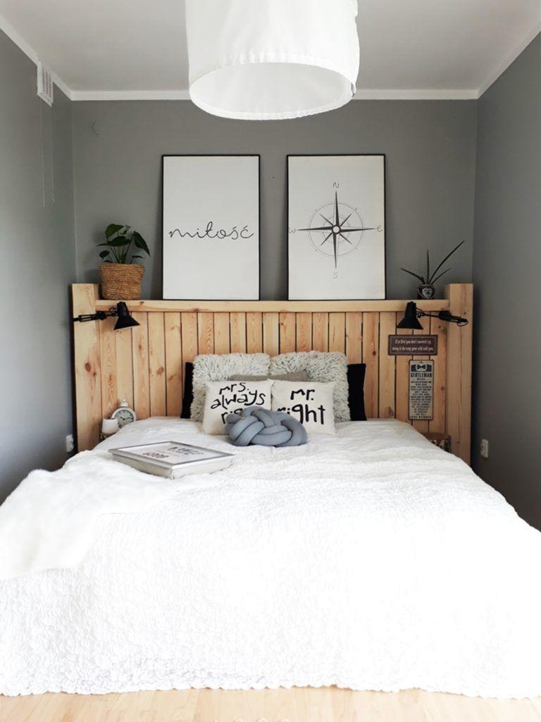 drewniany zagłówek, drewniane łóżko, styl skandynawski ...