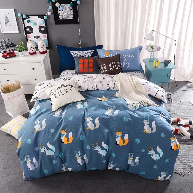 lovely dogfox print bedding set duvet coverbed - Twin Bed Sheets