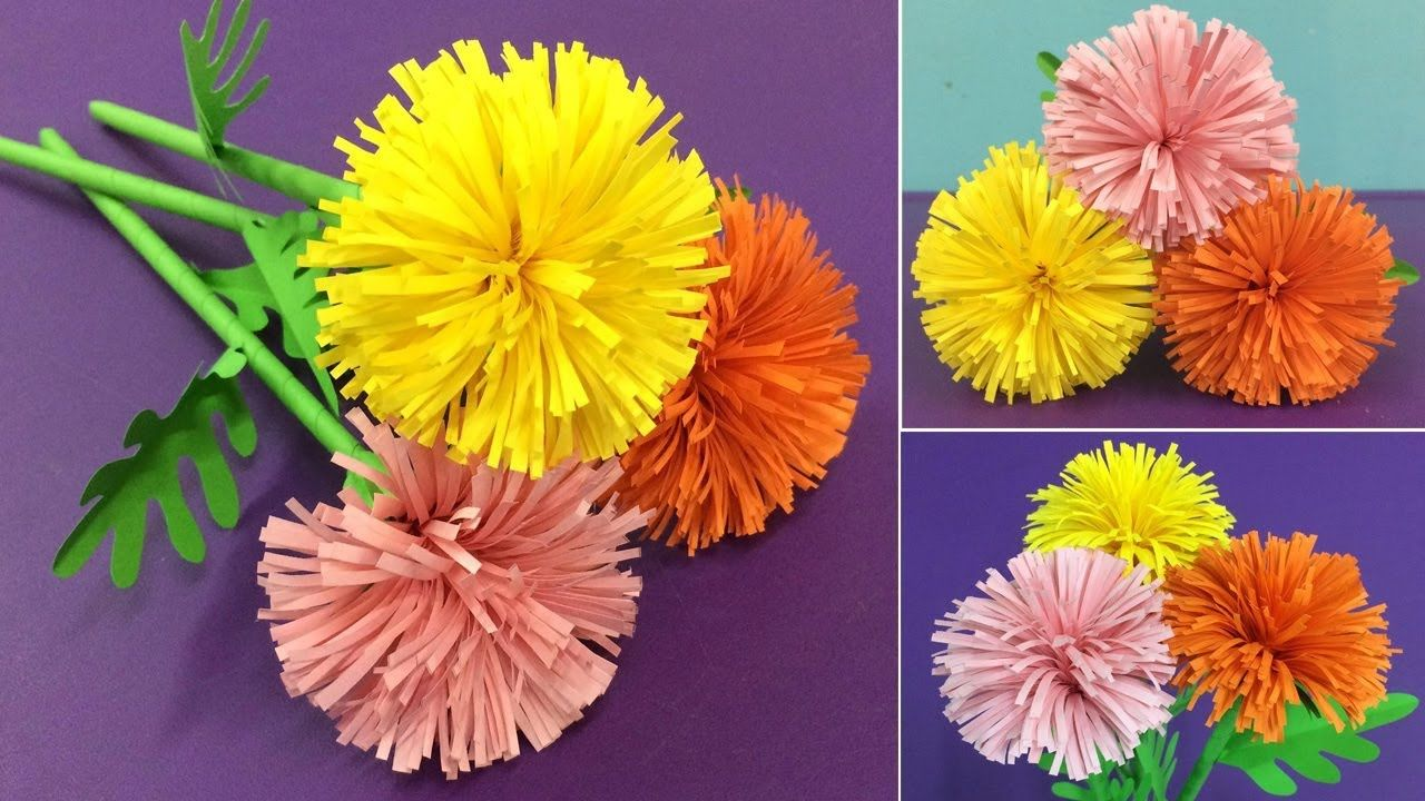 How To Make Paper Marigold Flower Making Paper Flowers Step By