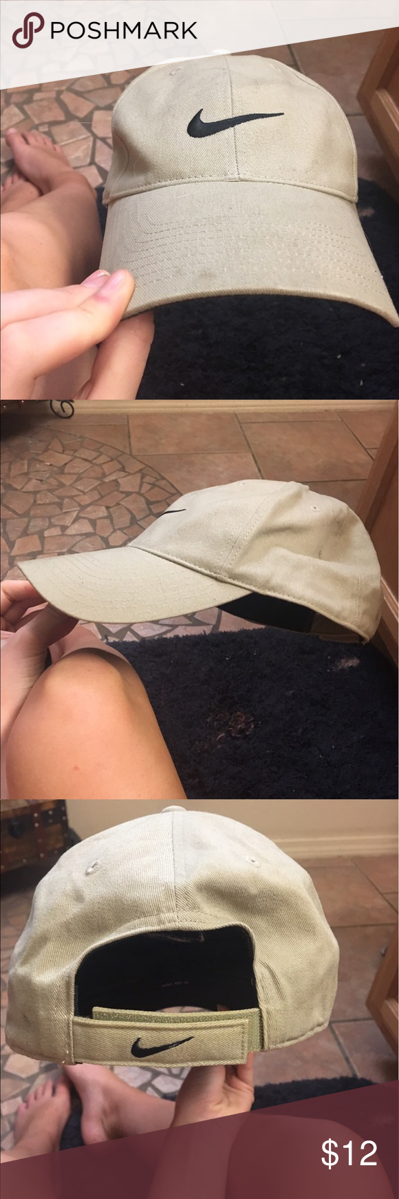 467075e1 Nike hat Nude Nike hat beige or tan or nude color Nike symbol in front and  back Velcro SnapBack baseball style Nike Accessories Hats