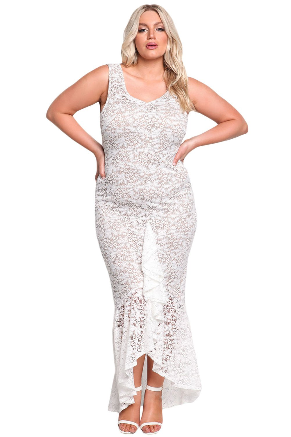 White plus size lace ruffle mermaid maxi gown maxi gowns lace