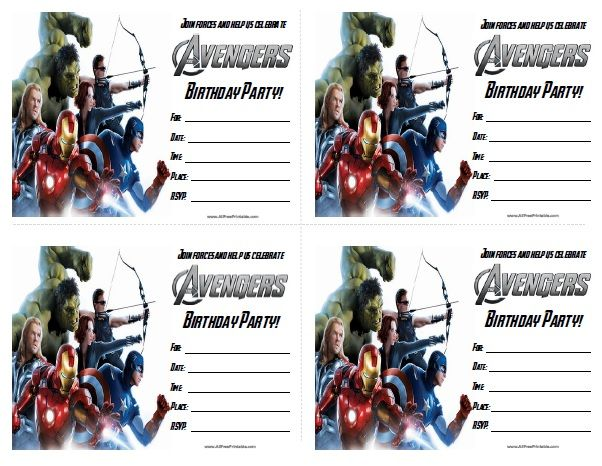 Free Printable The Avengers Birthday Party Invitations Birthday